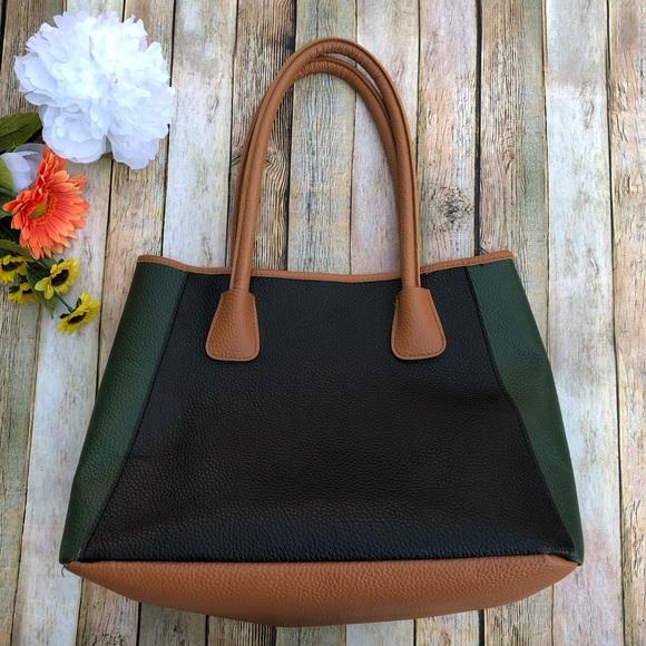 Neiman Marcus Handbags - Nieman Marcus color blocked pebbled vegan  tote